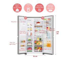 Tủ lạnh LG Inverter Side by side 602 lít GR-X247JS Instaview Door-In-Door
